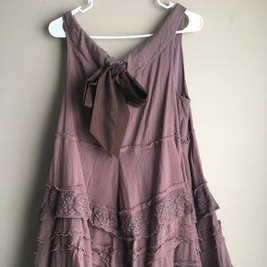 Anthropologie Zahavale Flounced Mocha Dress